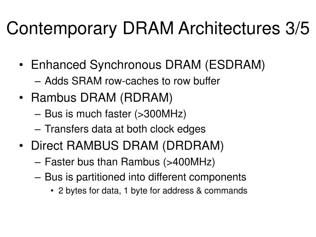 Contemporary DRAM Architectures 3/5