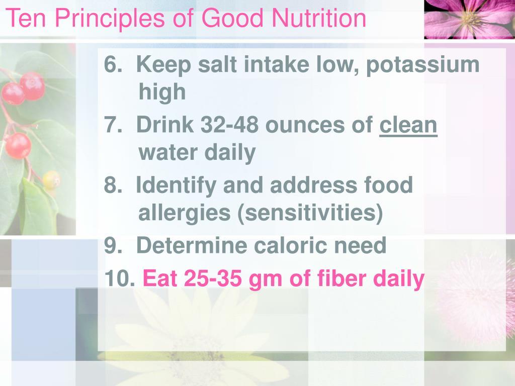 Ten Principles of Good Nutrition