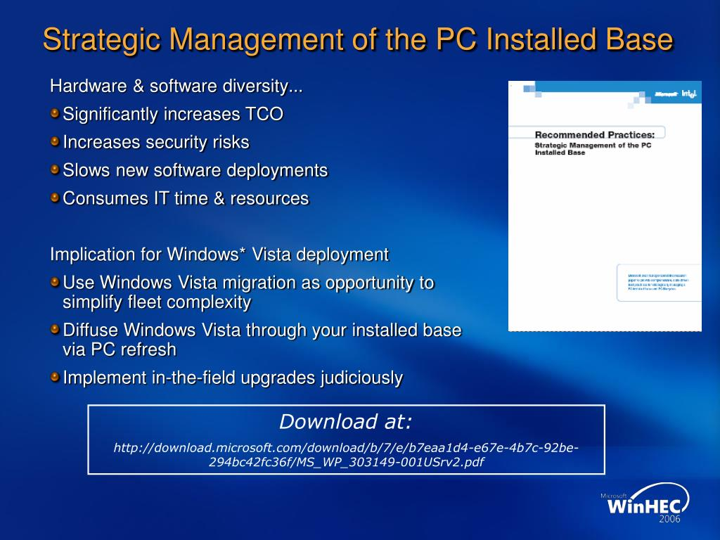 Strategic Management of the PC Installed Base