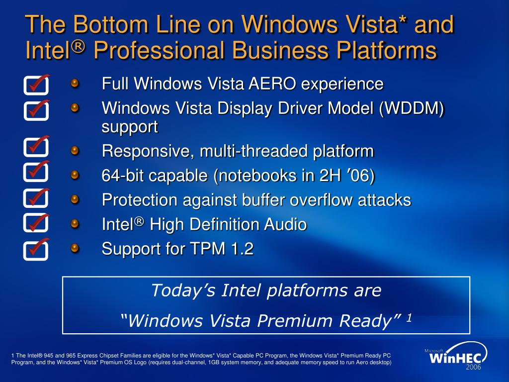 The Bottom Line on Windows Vista* and Intel