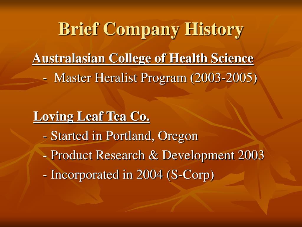 Brief Company History