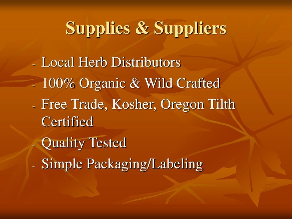 Supplies & Suppliers