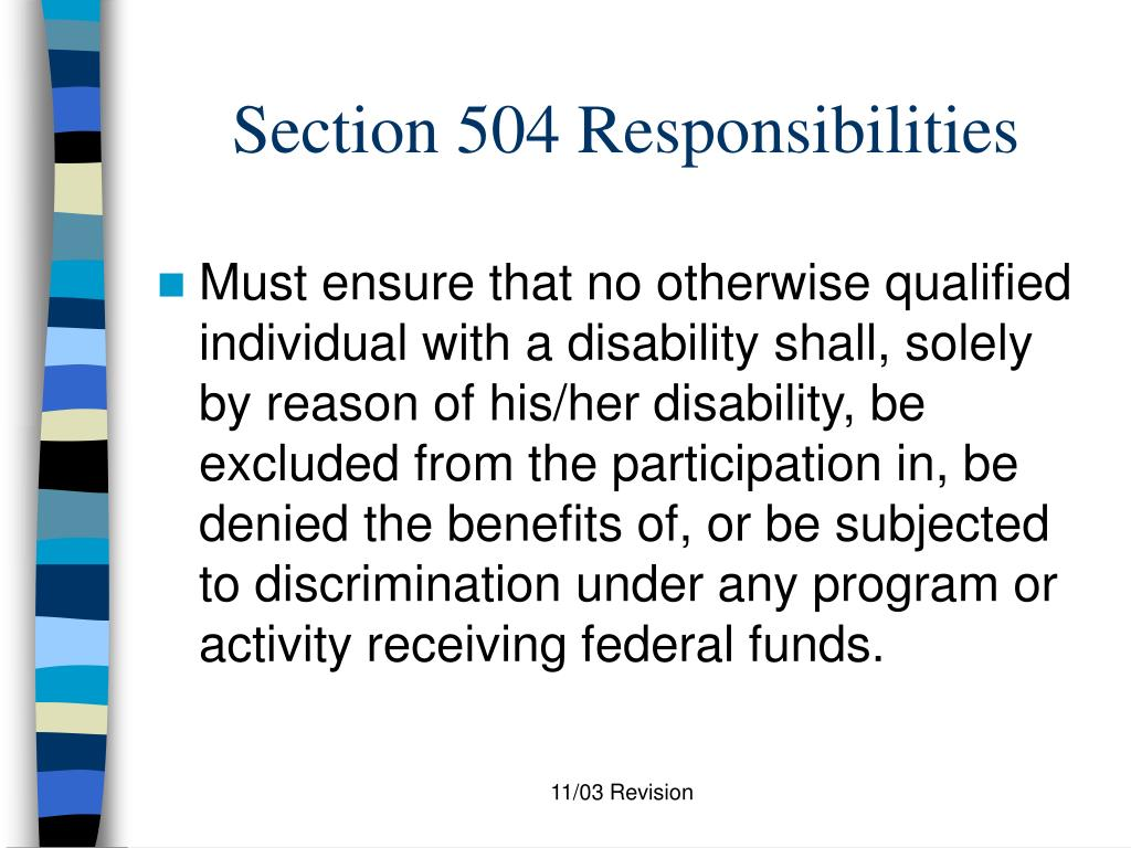 Section 504 Responsibilities