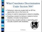 what constitutes discrimination under section 504