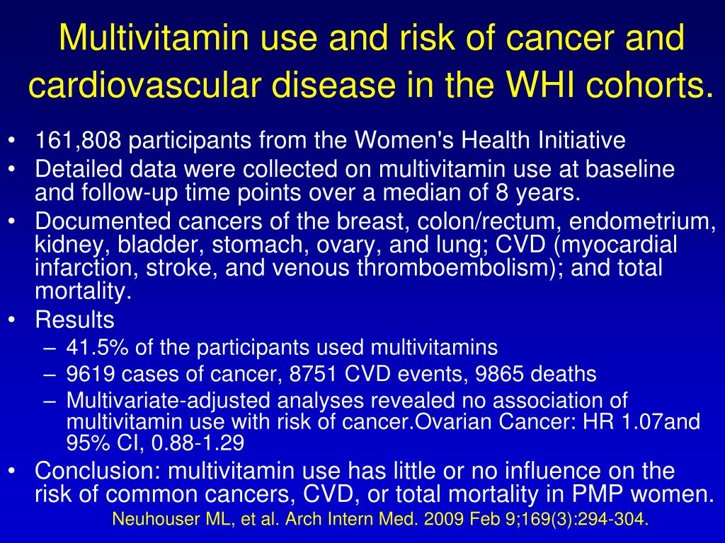 Multivitamin use and risk of cancer and cardiovascular disease in the WHI cohorts.