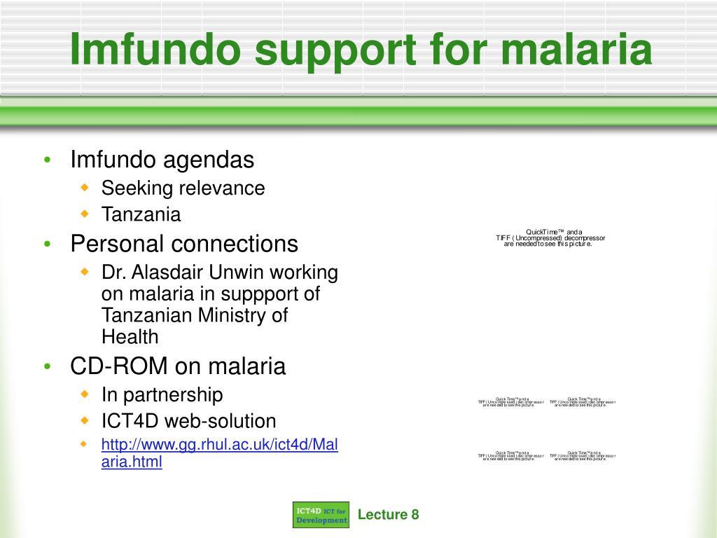 Imfundo support for malaria