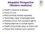 allopathic perspective western medicine