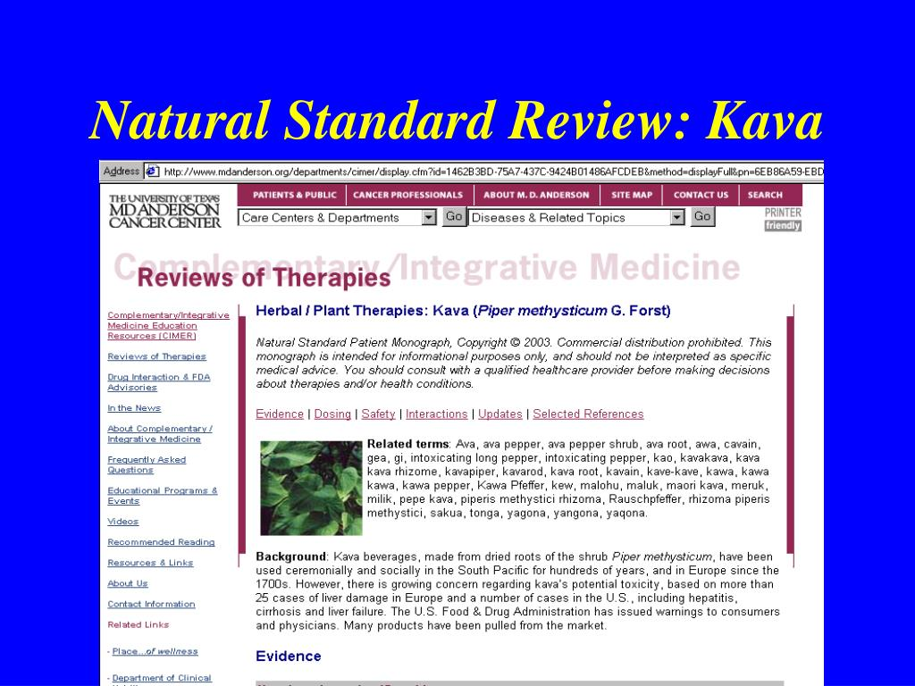 Natural Standard Review: Kava