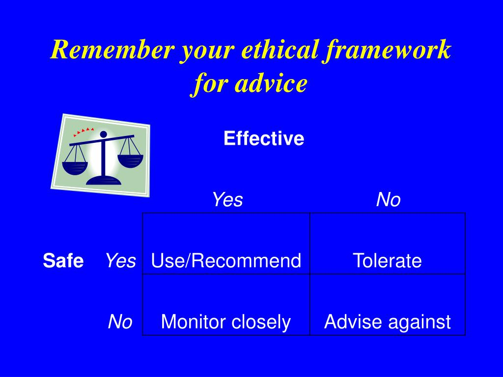 Remember your ethical framework for advice