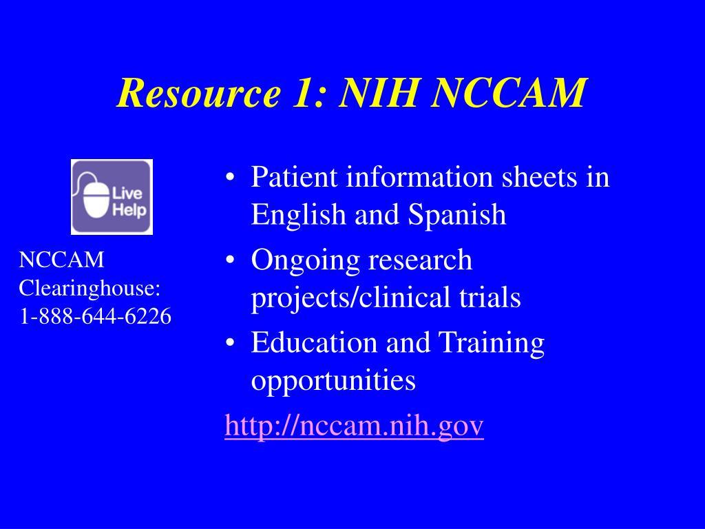 Resource 1: NIH NCCAM