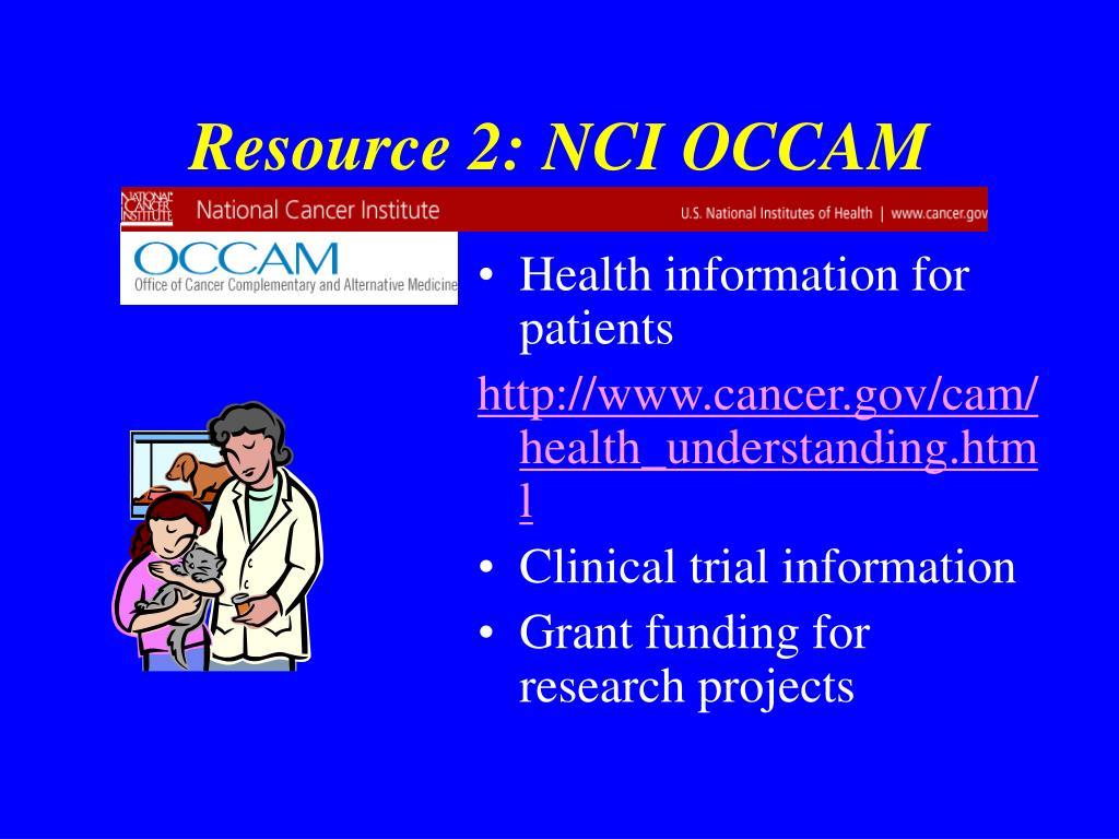 Resource 2: NCI OCCAM