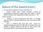 nature of the award cont
