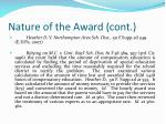 nature of the award cont25