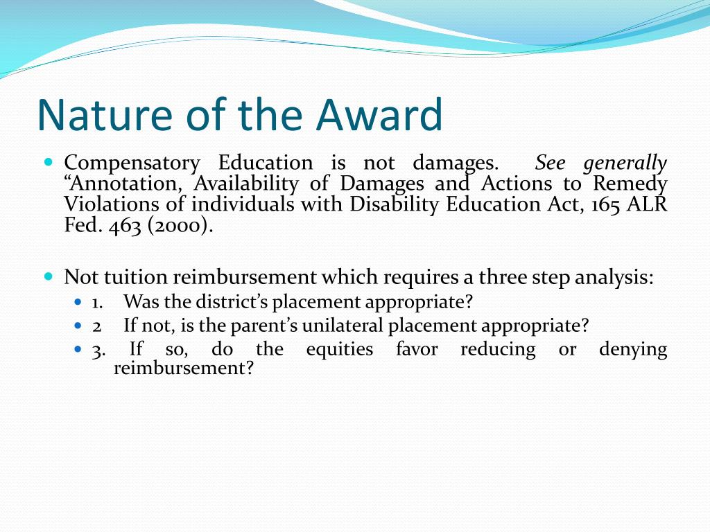 Nature of the Award