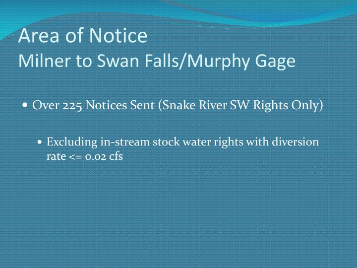 Area of notice milner to swan falls murphy gage