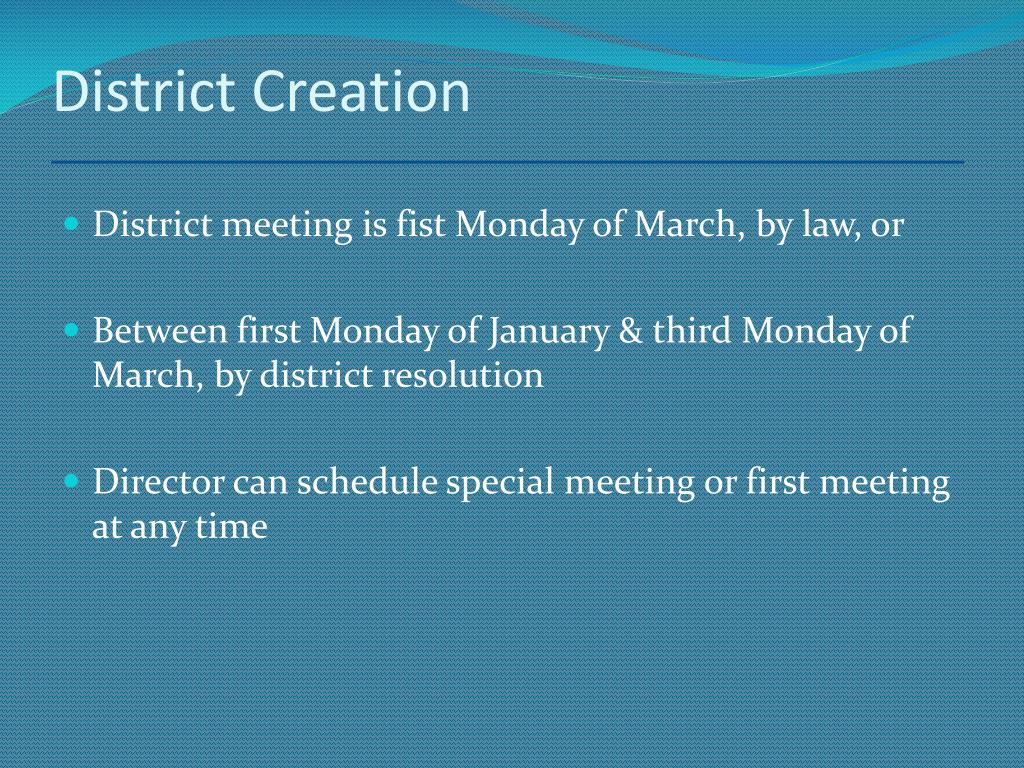 District Creation