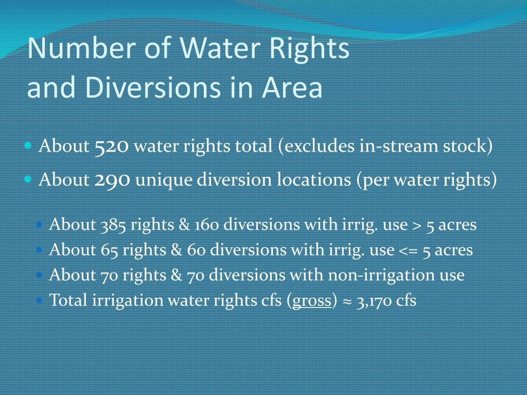 Number of Water Rights               and Diversions in Area