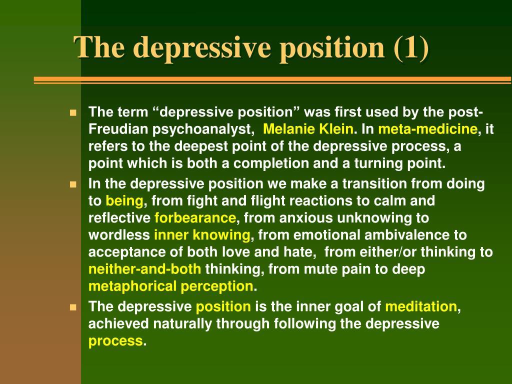 The depressive position (1)