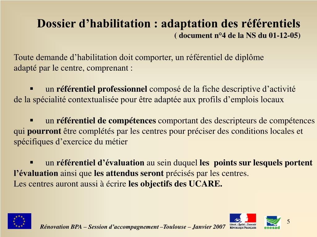 Dossier d'habilitation : adaptation des référentiels