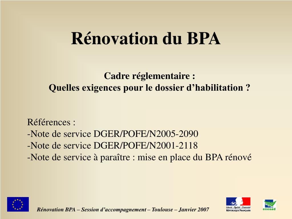 Rénovation du BPA