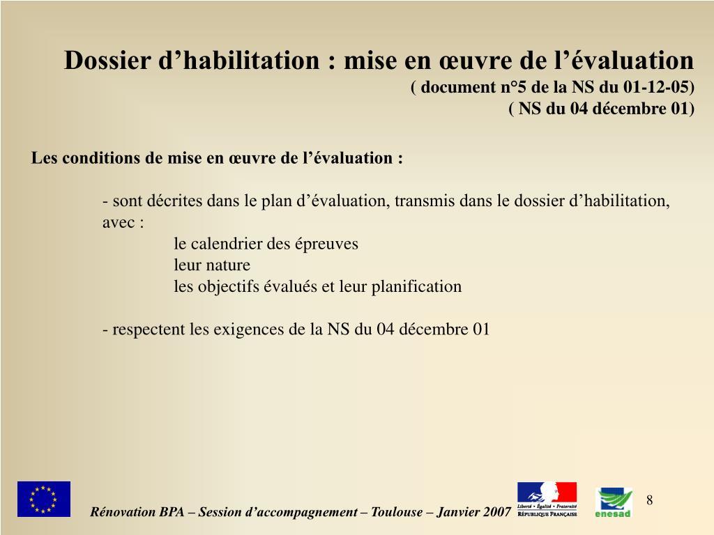 Dossier d'habilitation : mise en œuvre de l'évaluation