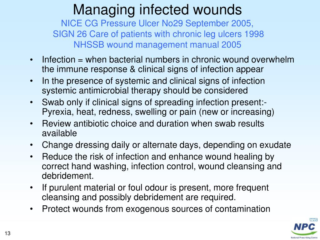 Managing infected wounds