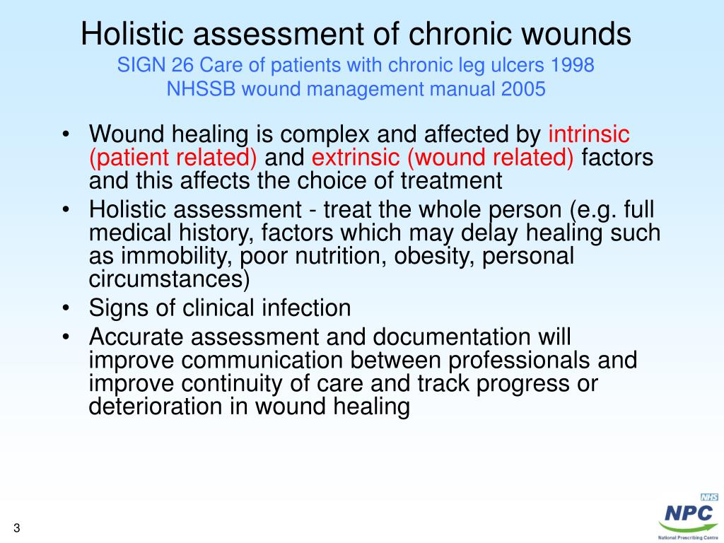 Holistic assessment of chronic wounds