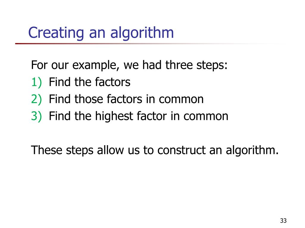 Creating an algorithm