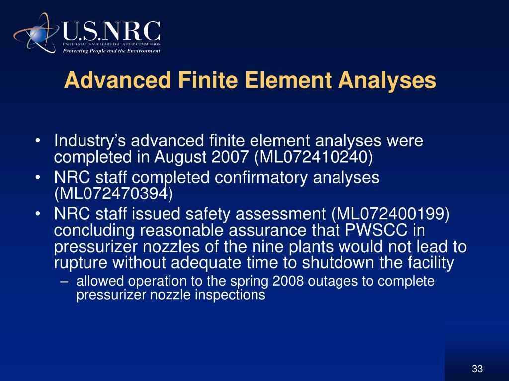 Advanced Finite Element Analyses