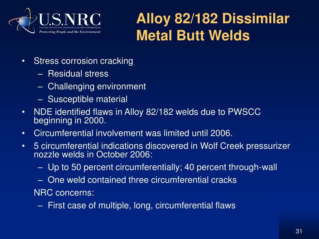 Alloy 82/182 Dissimilar