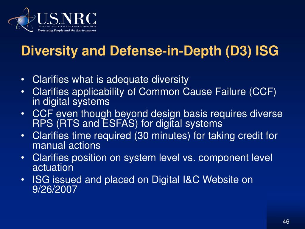 Diversity and Defense-in-Depth (D3) ISG