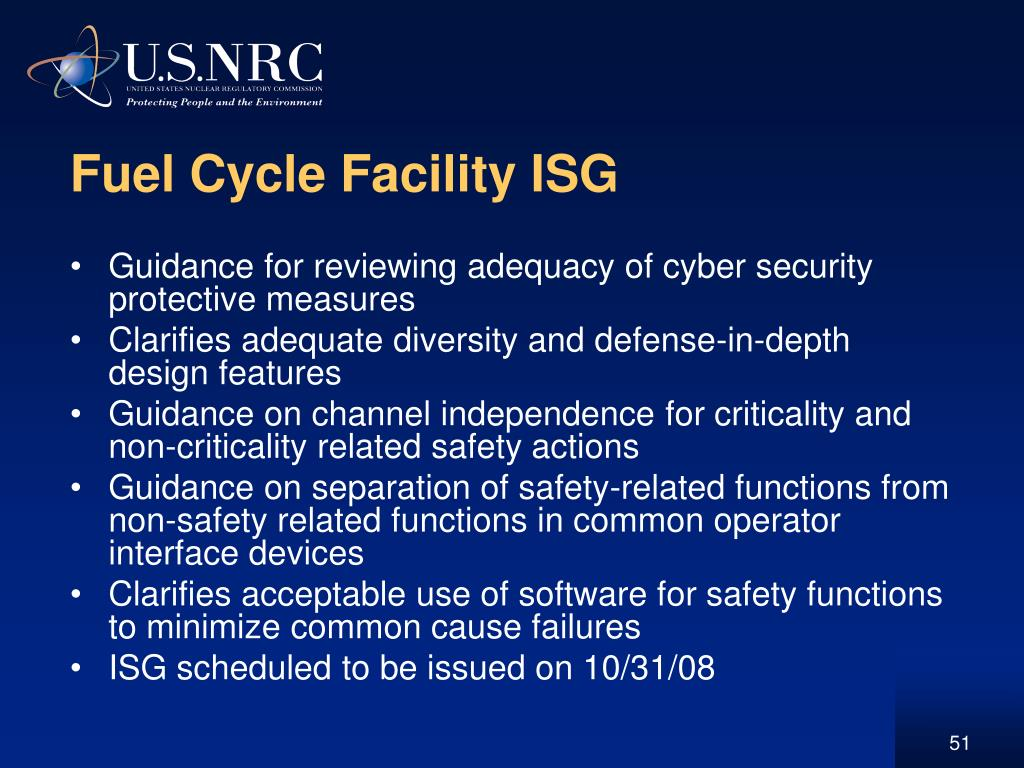 Fuel Cycle Facility ISG