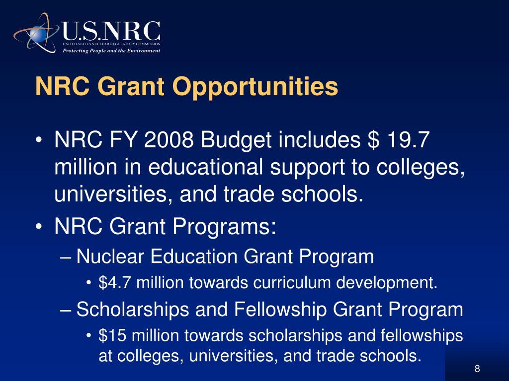 NRC Grant Opportunities