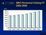 nrc personnel ceiling fy 2002 2008
