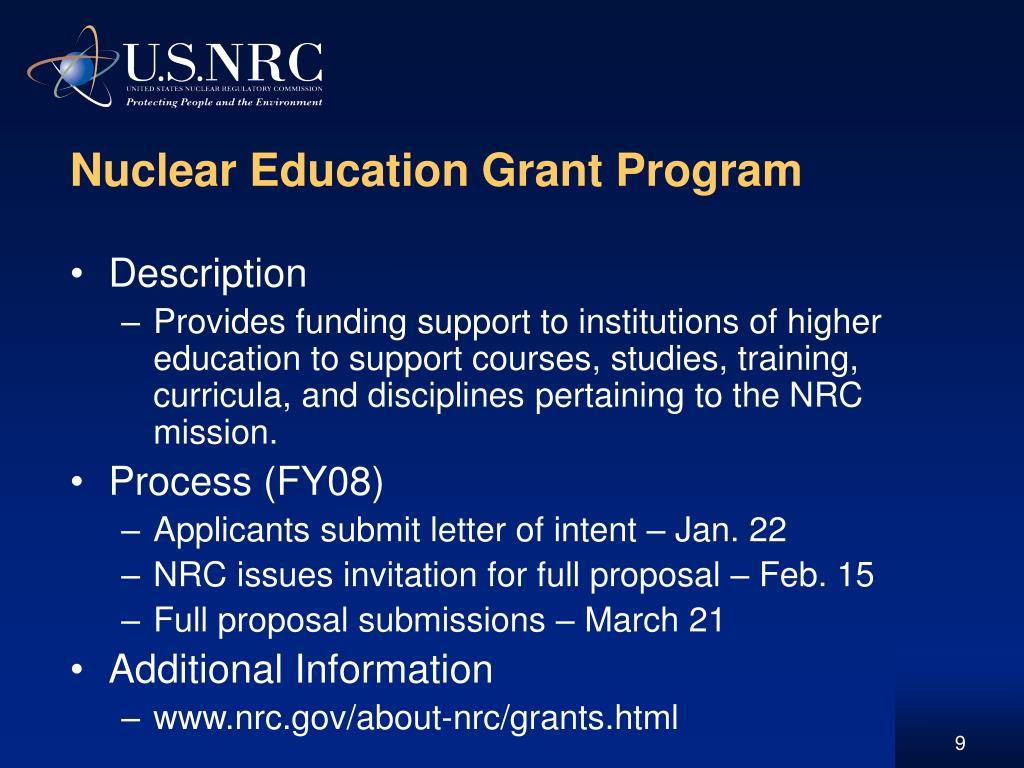 Nuclear Education Grant Program