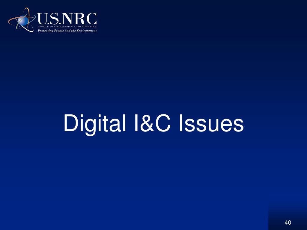Digital I&C Issues
