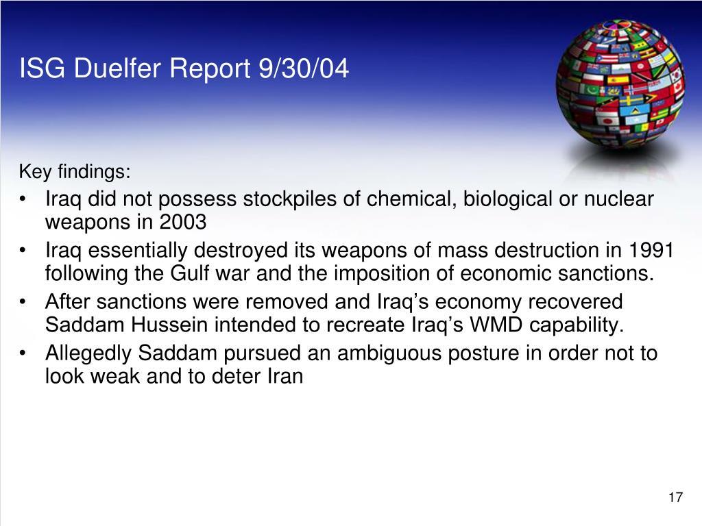 ISG Duelfer Report 9/30/04