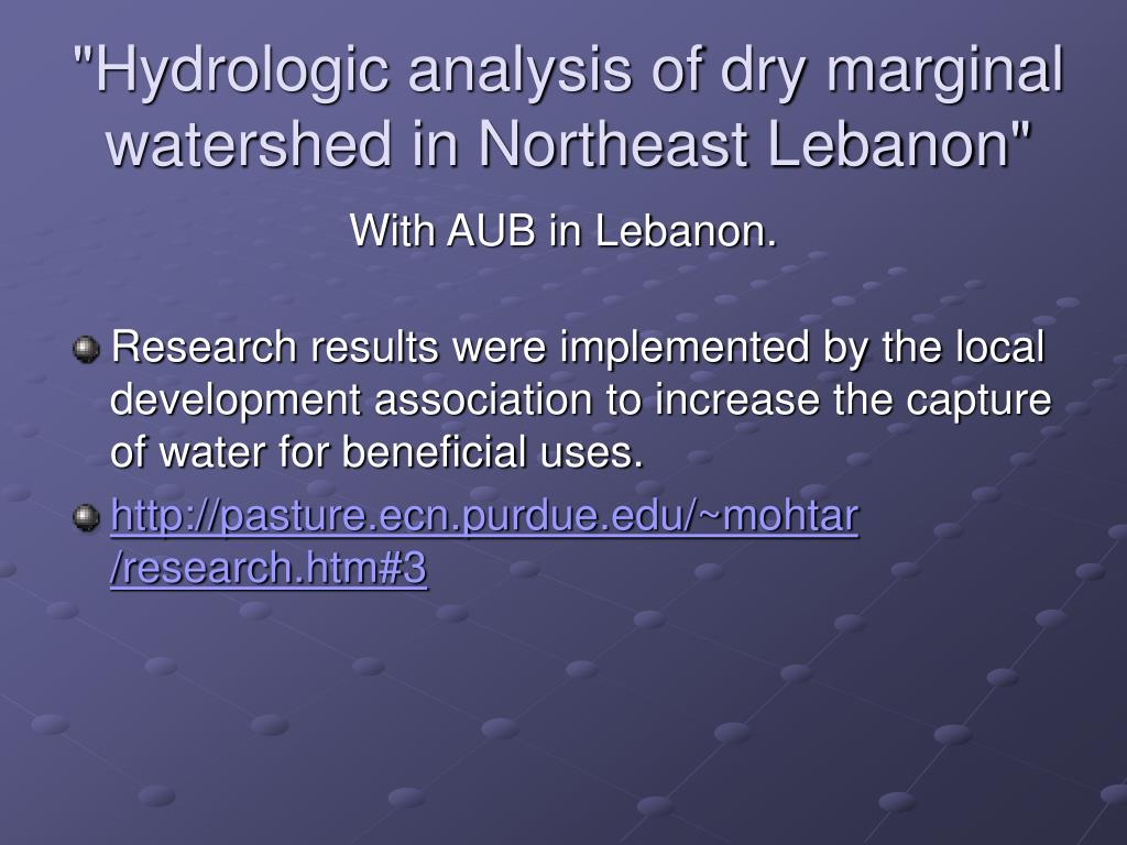 """Hydrologic analysis of dry marginal watershed in Northeast Lebanon"""
