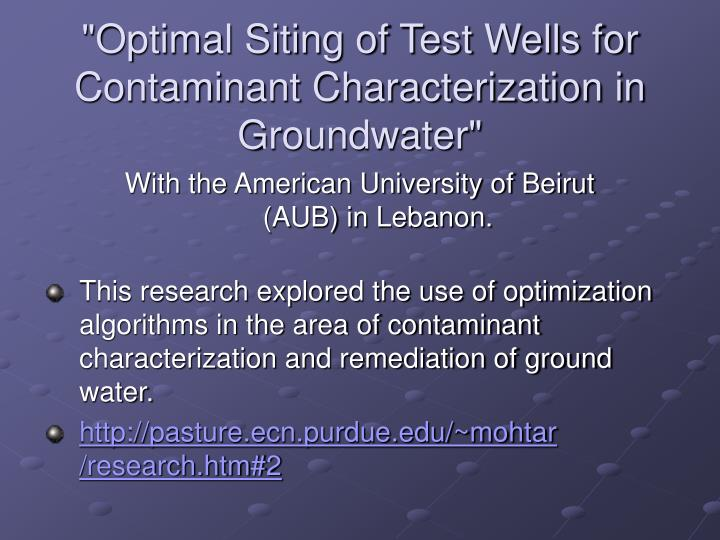Optimal siting of test wells for contaminant characterization in groundwater
