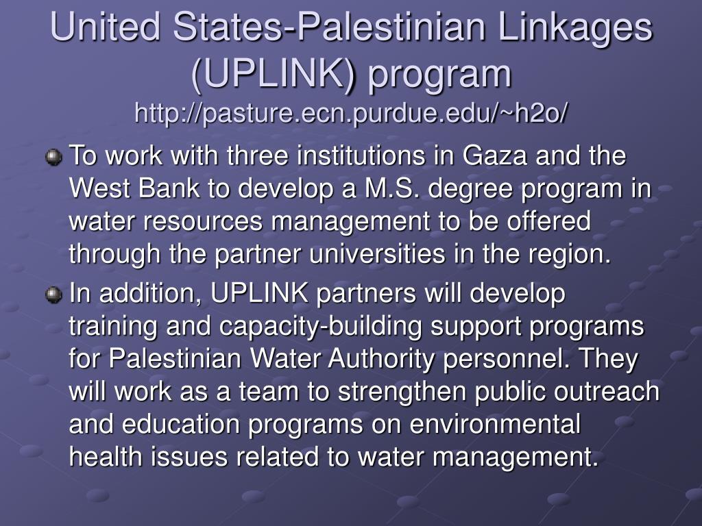United States-Palestinian Linkages (UPLINK) program
