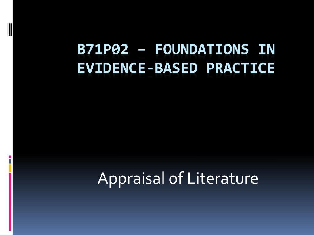 Appraisal of Literature