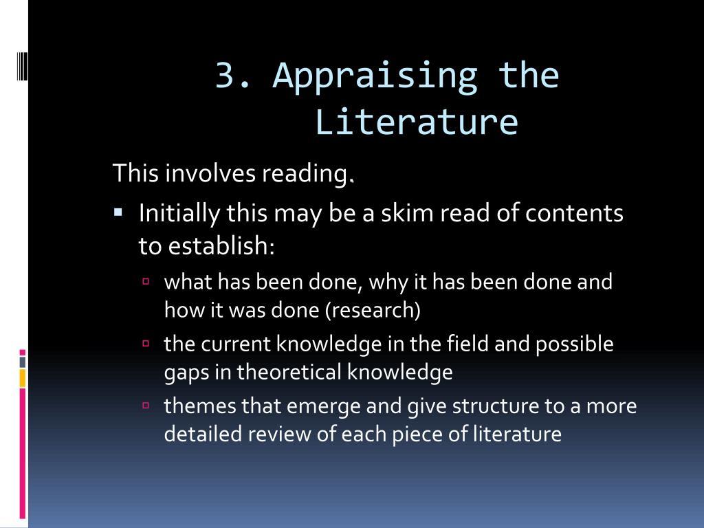 Appraising the Literature