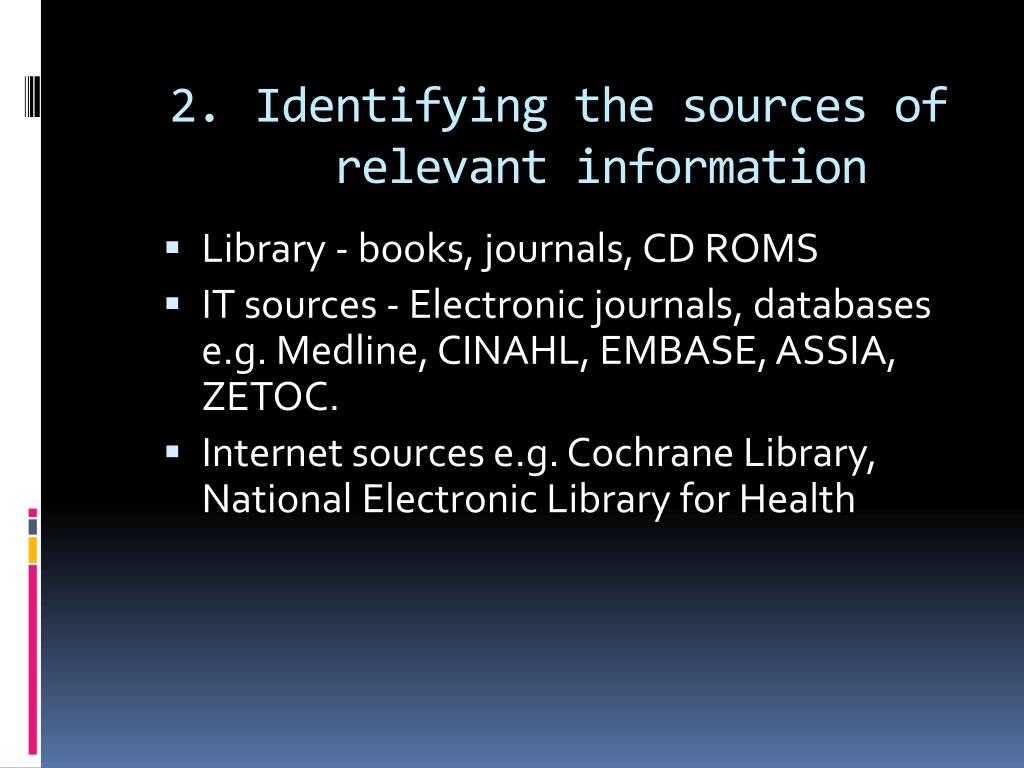 Identifying the sources of relevant information