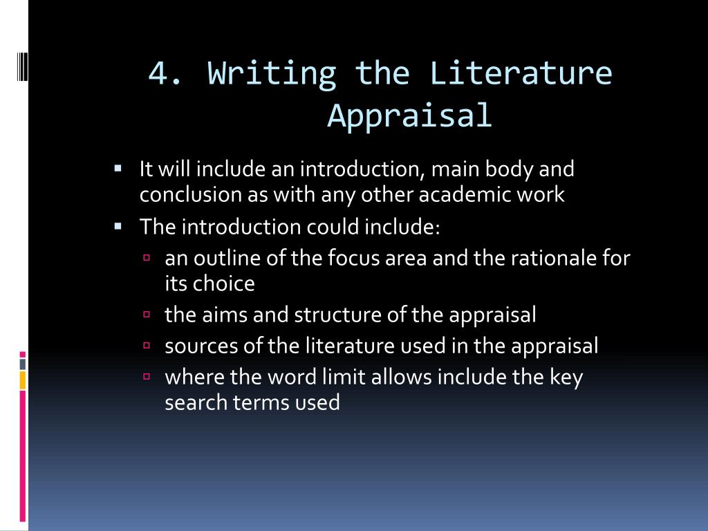 Writing the Literature Appraisal