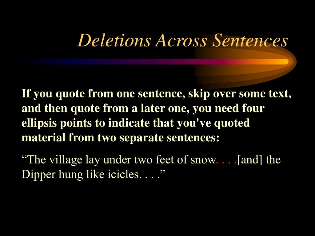 Deletions Across Sentences