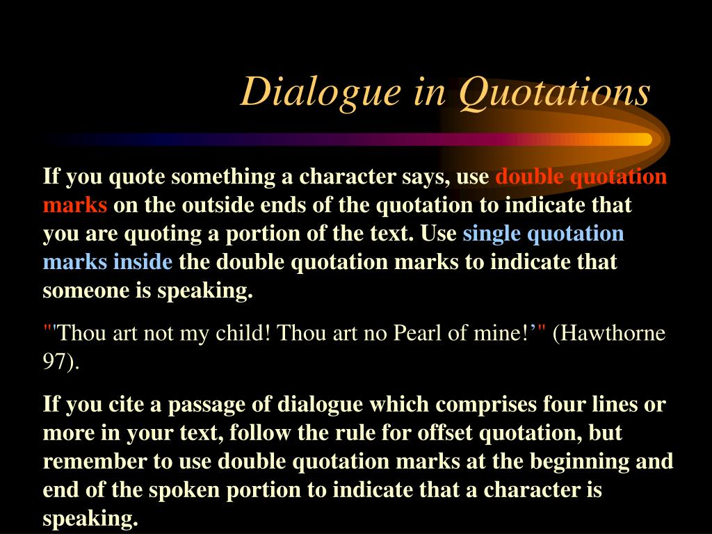 Dialogue in Quotations