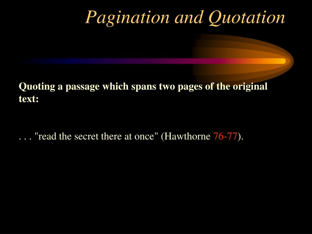 Pagination and Quotation