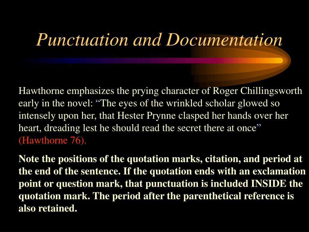 Punctuation and Documentation