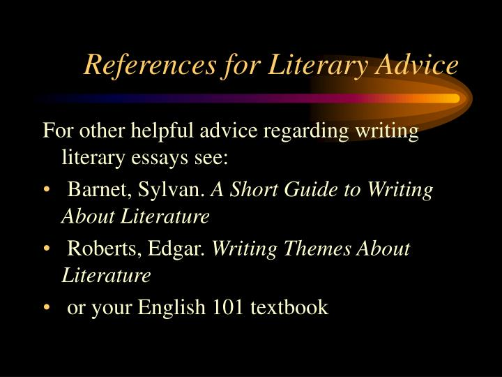 References for literary advice