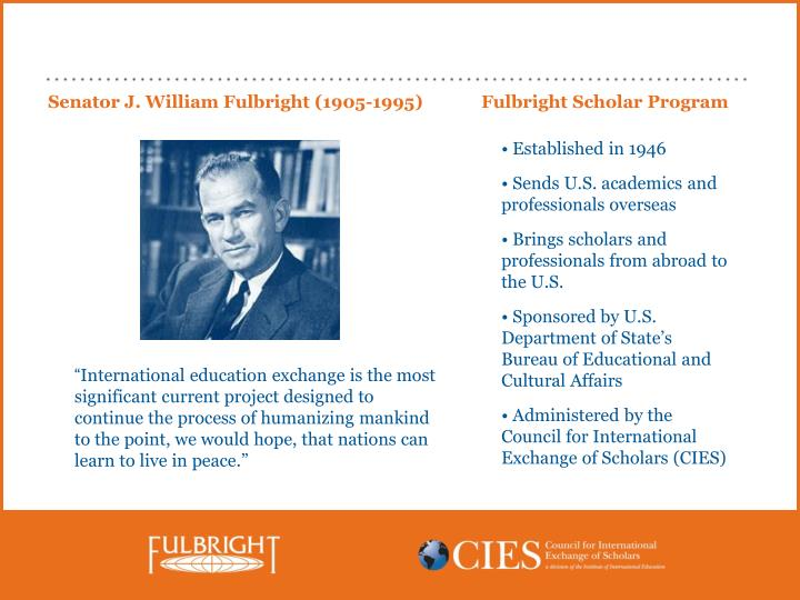 Senator j william fulbright 1905 1995